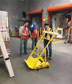 Mike at Home Depot explaining the Scoop Dolly